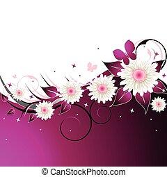 rosa, blommig, abstrakt, bakgrund