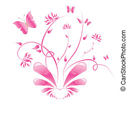 rosa, blommig, fjärilar, design