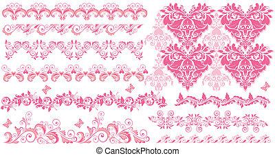rosa, blommig, kanter, seamless