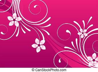 rosa, blommig, sammandrag formge