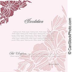 rosa, blommig, vektor, bakgrund, design.