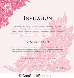 rosa, blommig, vektor, design, bakgrund