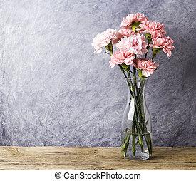 rosa, Blomstrar, nejlika, Utrymme, fri, flaska, avskrift