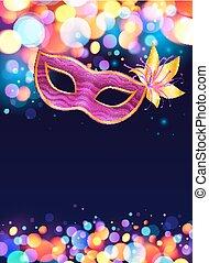 rosa, blu, carnevale, manifesto, maschera, scuro, luci, ...