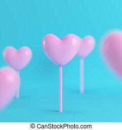 rosa, blu, colore pastello, luminoso, bastone, fondo, cuori