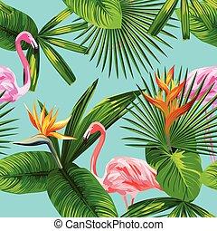 rosa, blu, fenicottero, foglie, seamless, tropicale, fondo, fiori