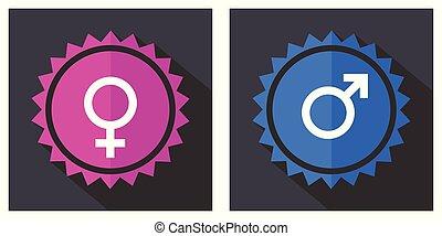 rosa, blu, icone, simbolo genere, vettore, femmina, maschio