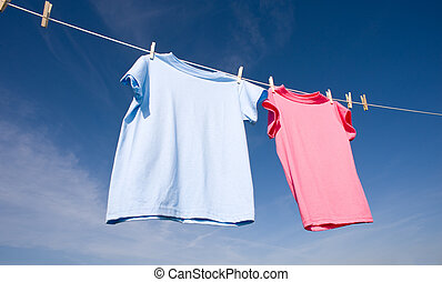 rosa, blu, t-shirts