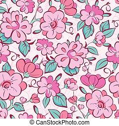 rosa, blu, vettore, modello, seamless, chimono, fondo, fiori