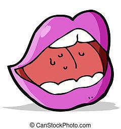 rosa, bocca, cartone animato