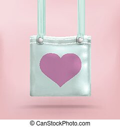 rosa, borsa, borsellino, fondo, cuore