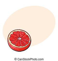 rosa, bosquejo, maduro, toronja, ilustración, naranja, vector, mitad, rojo