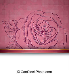 rosa, bosquejo, plano de fondo