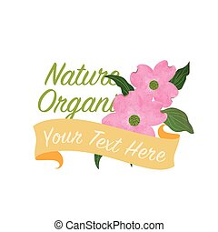 rosa, botanico, giardino fiore, colorito, natura, cornus, florida, struttura, acquarello, vettore, dogwood, bandiera