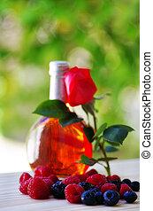 rosa, bottiglia, vino, frutte