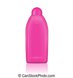 rosa, bottle., desaparecer, líquido