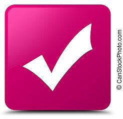 rosa, bottone, convalida, quadrato, icona