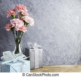 rosa, boxas, begrepp, nejlika, gåva, Fostrar, fri, flaska, Blomstrar, dag