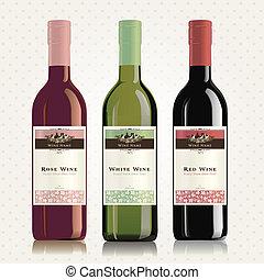 rosa, branca, etiquetas, vinho, vermelho
