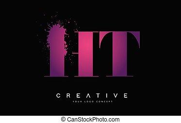 rosa, brev, spill, purpur, h, ht, vattenfärg, plaska, design...