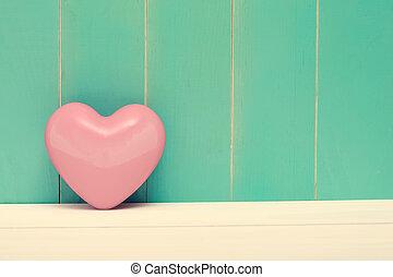 rosa, brillante, corazón, en, vendimia, cerceta, madera