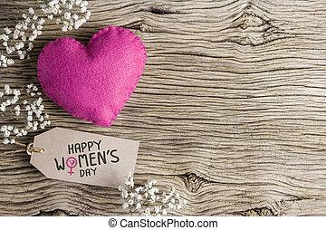 rosa, brun,  Womens, hjärta, papper, etikett,  Gypsophila, Blomstrar, dag, lycklig