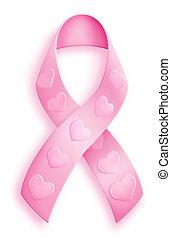 rosa, cáncer, pecho, cinta