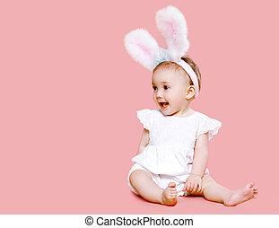 Rosa,  CÙte, lieb, flaumig, Kostüm,  baby, Ostern, kaninchen, Ohren