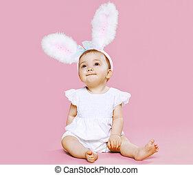Rosa,  CÙte, Sitzen, lieb, flaumig, Kostüm,  baby, Ostern, kaninchen, Ohren