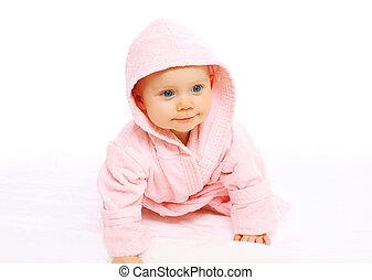 Rosa,  CÙte, wenig, bademantel,  baby, Porträt, kriecht