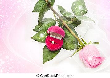rosa, caja, anillo, diamante, rosa
