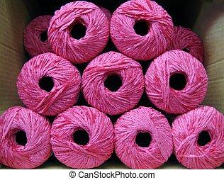 rosa, caja, conjunto, hilo, brillante, pelotas, rayón,...