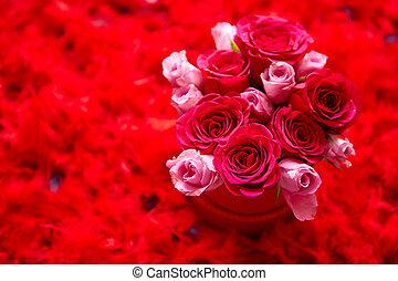 rosa, caja, espacio, plumas, colocado, empacado, plano de fondo, rosas, copia, rojo