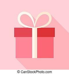rosa, caja, presente