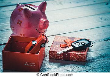 rosa, caja, regalo, coche, madera, cerdito, llave, tabla, banco
