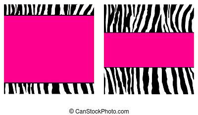 rosa, caliente, papel, conjunto, zebra