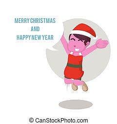 rosa, callout, allegro, anno, nuovo, ragazza, natale, felice