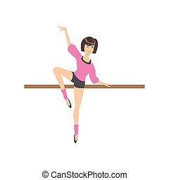 rosa, camicetta, balletto, calzoncini, ballo, esercitarsi, polo, ragazza, classe