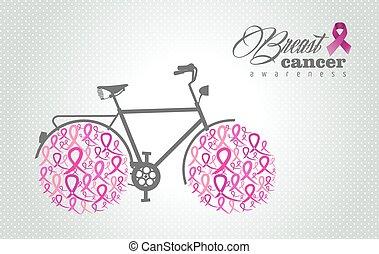 rosa, cancer, cykel, band, hjul, medvetenhet, bröst