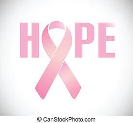 rosa, cancro, illustrazione, segno, nastro, speranza