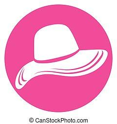 rosa, cappello, femmina, icona