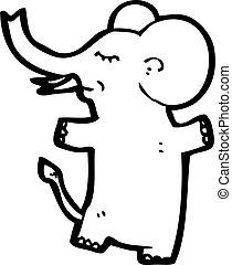 rosa, carattere, cartone animato, elefante
