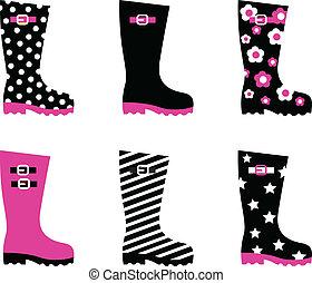 rosa, &, ), (, caricamenti sistema de wellington, isolato, nero, pioggia, bianco