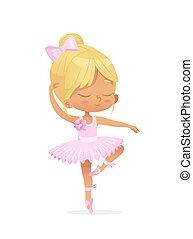 rosa, carino, ballerina, ballo, isolato, ragazza bambino, vestire