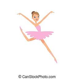 rosa, carino, ballerina, giovane, saltare, ragazza, vestiti