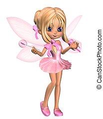 rosa, carino, ballerina, toon, 3, fata