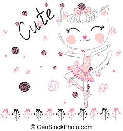 rosa, carino, balletto, tutu., ballerina, ballo, gatto