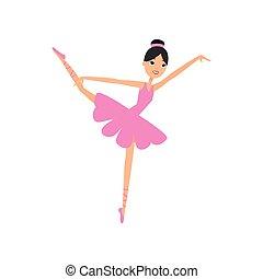 rosa, carino, brunetta, ballo, ballerina, ragazza, vestire
