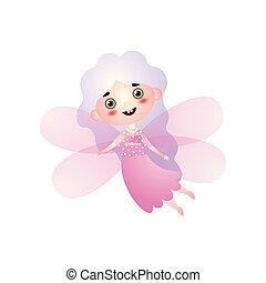 rosa, carino, fata, volare, costume, ragazza, ali