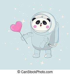 rosa, carino, heart., spazio, orso, divertente, astronauta, panda